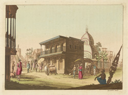 Street scene with Kalighat temple, Calcutta